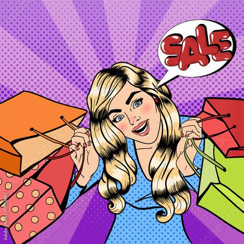 Plakat Dziewczyna z torby na zakupy. Kobieta na zakupy. Banner sprzedaży. Pop Art