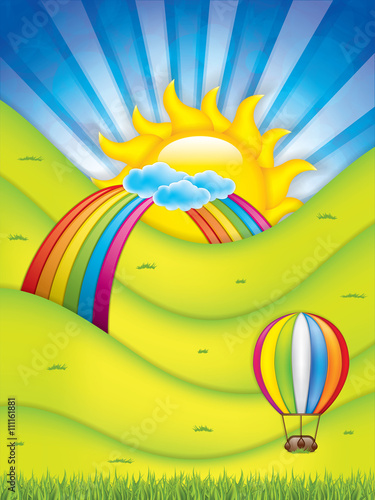 Foto op Canvas Regenboog Spring background