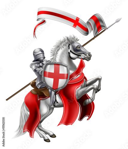 Obraz na plátně Saint George of England Knight on Horse