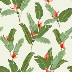 FototapetaSeamless Pattern. Tropical Palm Leaves Background. Banana Leaves