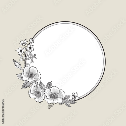 Fototapety, obrazy: Flower bouquet. Floral frame. Flourish greeting card. Blooming flower backgound