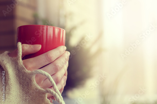 Fotografie, Obraz  holiday after winter walks/Retro background with red cup in his hands in the com