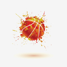 Basketball Ball. Vector Watercolor Splash Icon