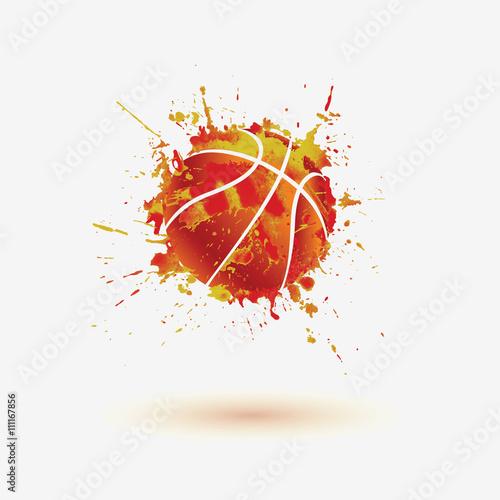 Piłka do koszykówki. Ikona powitalny akwarela wektor