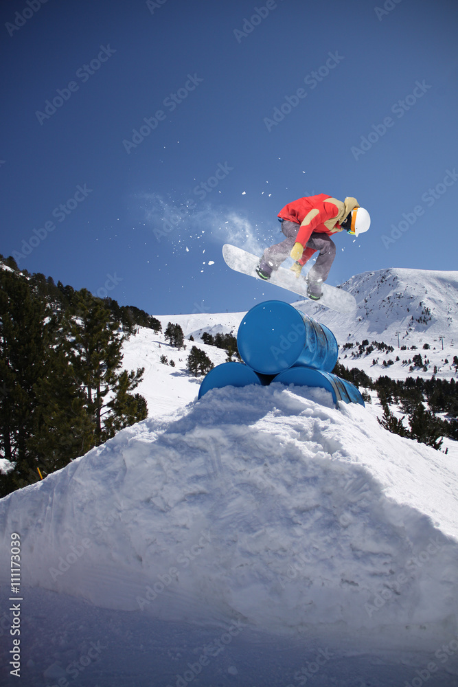 45a2079be60 Photo   Art Print Snowboard rider jumping on winter mountains ...