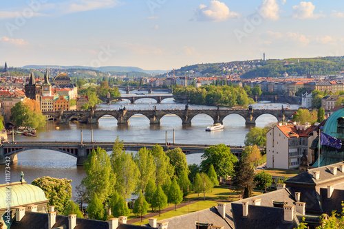 Foto op Plexiglas Praag Panorama of Vltava and Charles Bridge from above on sunny day, Czech Republic