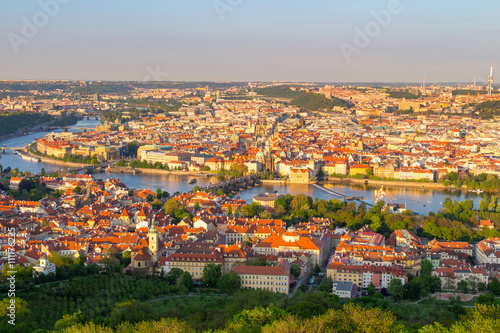 Poster Northern Europe Panorama of Vltava and Charles Bridge from above on sunny day, Czech Republic