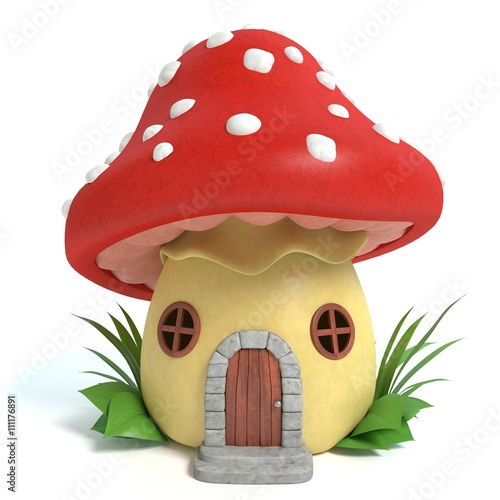 Fotografie, Obraz  3d illustration of a mushroom house