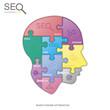 SEO puzzle head, vector