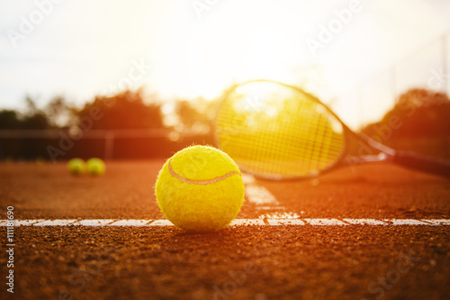 Tennis equpment on clay court Poster