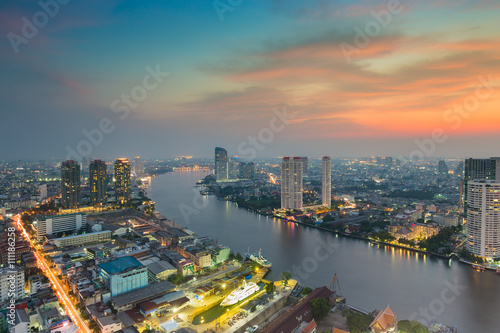 Sunset over River curved in Bangkok city, Thailand Wallpaper Mural