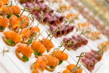 Closeup Canapes And Snacks For...