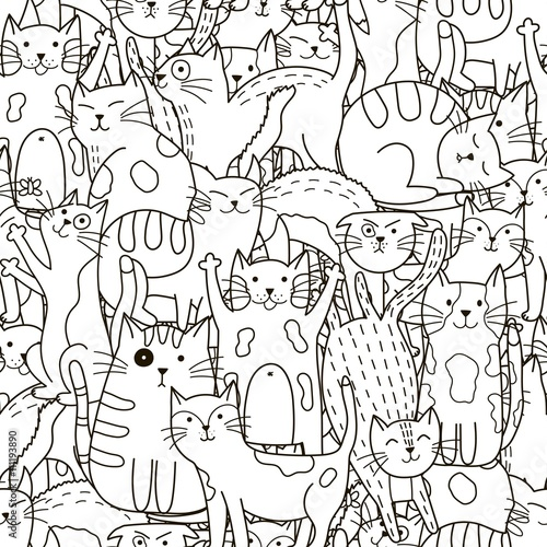 obraz PCV Doodle cats seamless pattern. Black and white cute cats background