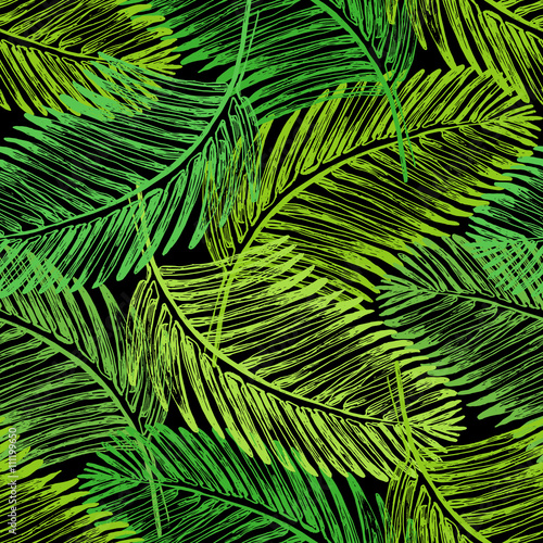 Ingelijste posters Tropische Bladeren Palm leaves illustration. Tropical jungle plant. Vector wallpaper seamless textile pattern. Retro vintage style. Green color.