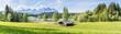 canvas print picture - Landschaft - Panorama mit Wiese und Berge im Hintergrund