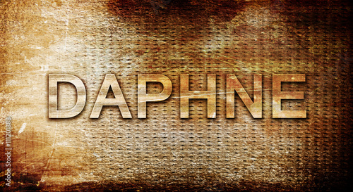 Stampa su Tela daphne, 3D rendering, text on a metal background