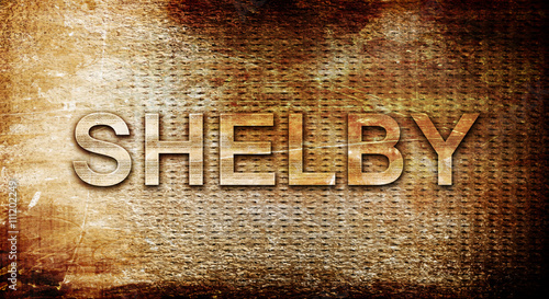 Photo  shelby, 3D rendering, text on a metal background