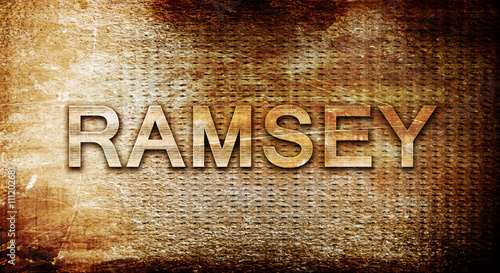Photo ramsey, 3D rendering, text on a metal background