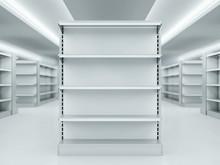 Metal Clean Shelves In Market. 3d Rendering