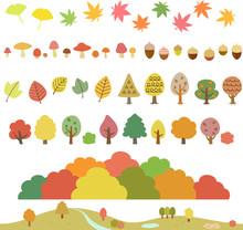 秋の木々、葉、キノコ...