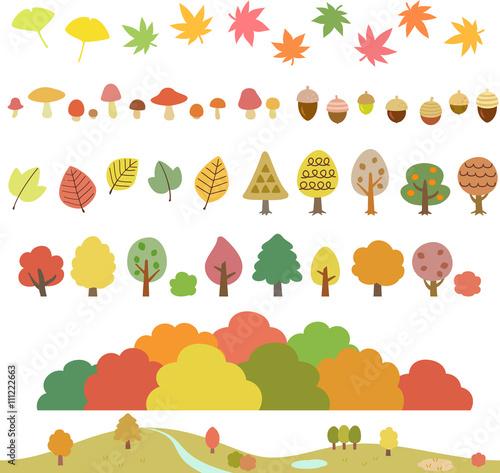 秋の木々葉キノコどんぐりのイラストセット Adobe Stock でこの