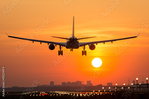 Poster Avion à Moteur Passenger plane is landing during a wonderful sunrise.