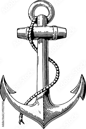 Fototapeta Vintage drawing anchor