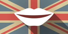 Long Shadow UK Flag Icon With  A Female Mouth Smiling