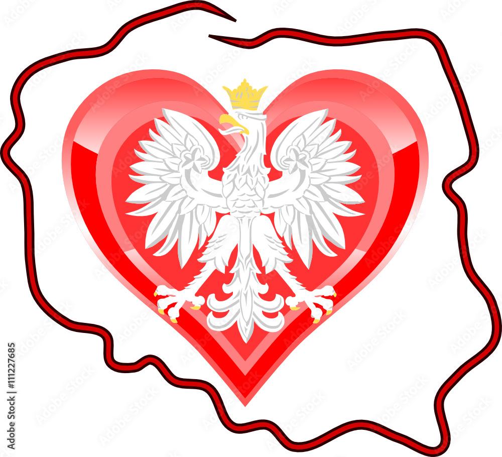 Kontur Polski Serce I Godlo Polski Fototapety