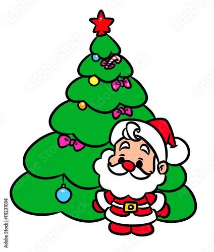 Spoed Fotobehang Voor kinderen Christmas tree Santa Claus mini cartoon illustration isolated image character