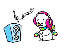 Christmas  Holiday Snowman Rainbow Music Cartoon Illustration
