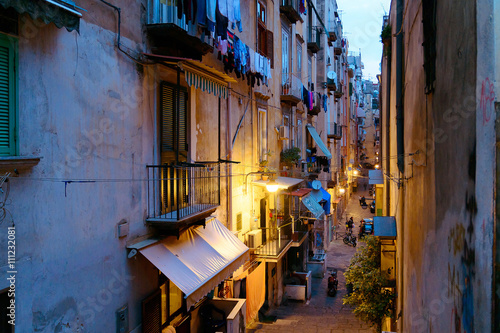 Garden Poster Napels NAPLES, ITALY - January 16, 2016 : Street view of old town night
