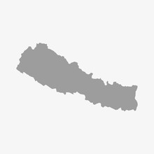 Nepal Map In Gray On A White B...