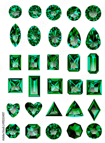 Fotografía Set of realistic green jewels