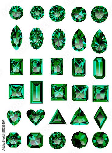 Set of realistic green jewels Wallpaper Mural