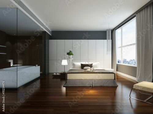 Zdjęcie XXL Sypialnia z przyległą łazienką w kolorze