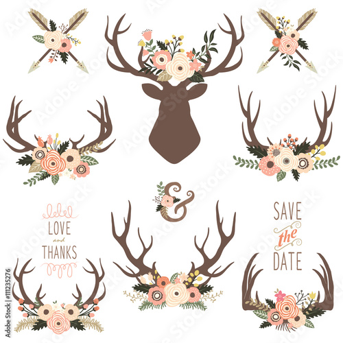 Floral Antlers Elements Wall mural