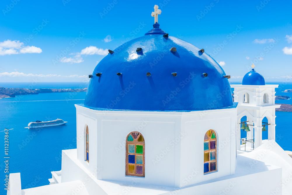 Fototapety, obrazy: Kościół na wyspie Santorini, Grecja