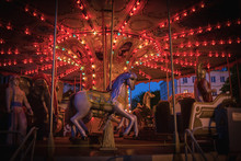 Night Children's Carousel With Lights