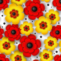 Obraz 3d seamless pattern with yellow and red flowers on a white background. Beautiful floral vector background. Summer, autumn, spring.
