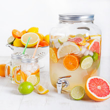 Detox Fruit Infused Flavored Water, Lemonade, Cocktail In A Beverage Dispenser With Fresh Fruits