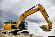 Constuction Industry Excavator Heavy Equipment On The Job