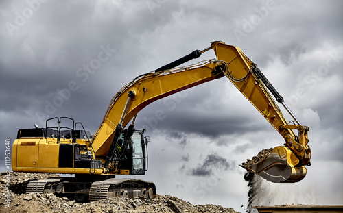 Pinturas sobre lienzo  Constuction industry heavy equipment excavator loading gravel