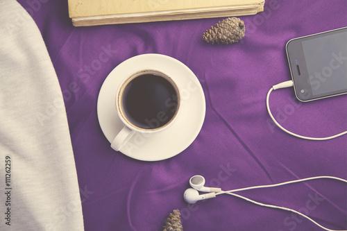 Fototapeta coffee and phone on bed obraz na płótnie