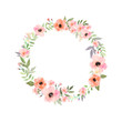 Leinwanddruck Bild - Vector watercolor flowers frame. Elegant floral collection with isolated flowers and leaves in circle frame.
