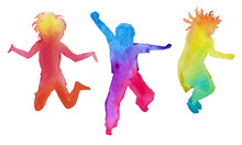 Set Of Children Silhouettes In Colors. Isolated. Watercolor