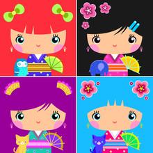 Set Of Kawaii Japanese Kokeshi Dolls