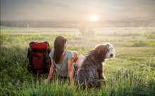 Frau Mit Hund Beim Sonnenunter...
