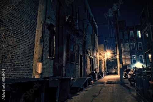 Canvas Prints Narrow alley Dark City Alley