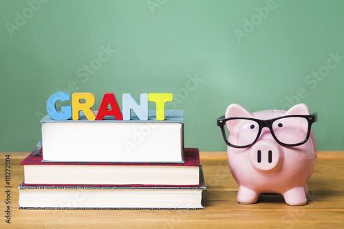 Fotografía  El tema de la educación de subvención con hucha rosa en la parte superior de los